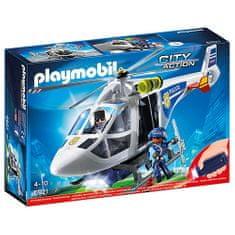 Playmobil Policajná helikoptéra s LED svetlometom Playmobil, Polícia, 17 dielikov