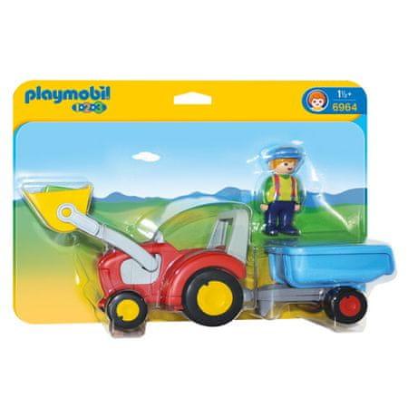 Playmobil Traktor s prikolico , 1.2.3, 3 kos