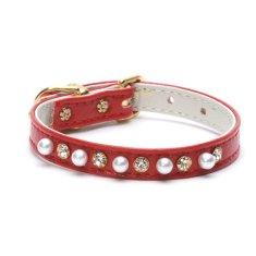Doggie Fashion Obojek s kamínky a perličkami Doggie Fashion červený, vel. XS
