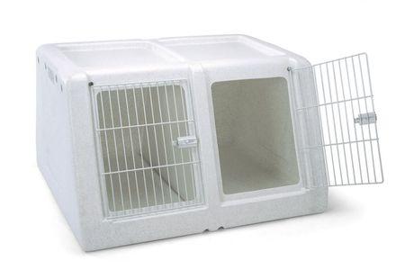 IMAC Potovalni zaboj za dva psa z izvlečno predelno steno, siv 90x78x53 cm