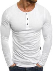 BUĎCHLAP Všedné biele tričko s dlhým rukávom 1114