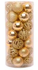 Seizis Set 35 koulí, různé dekory 4 cm, zlaté
