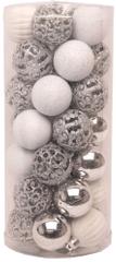 Seizis Set 35 koulí, různé dekory 4 cm, stříbrné