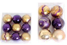 Seizis 2 sety zlato-fialových koulí, průměr 6 a 8 cm