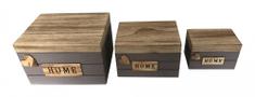 DUE ESSE Sada 3 ks dřevěných boxů HOME s víkem