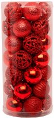 Seizis Set 35 koulí, různé dekory 4 cm, červené