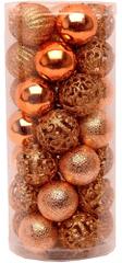 Seizis Set 35 koulí, různé dekory 4 cm, měděné