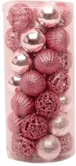 Seizis Set 35 koulí, různé dekory 4 cm, růžové