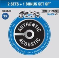 Martin Authentic SP 92/8 Phosphor Bronze Medium - Limited 3 Packs Kovové struny na akustickú gitaru