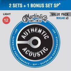 Martin Authentic SP 92/8 Phosphor Bronze Light - Limited 3 Packs Kovové struny na akustickú gitaru
