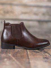 Pěkné hnědé kotníčkové boty dámské na plochém podpatku