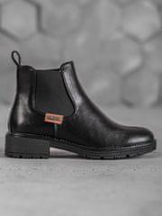 Vinceza Jedinečné kotníčkové boty černé dámské na plochém podpatku