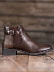 Komfortní dámské kotníčkové boty hnědé na plochém podpatku