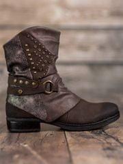Trendy dámské kotníčkové boty hnědé na plochém podpatku