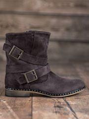 Klasické šedo-stříbrné dámské kotníčkové boty na plochém podpatku