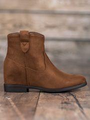 Originální kotníčkové boty hnědé dámské na klínku