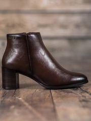 Vinceza Stylové hnědé kotníčkové boty dámské na širokém podpatku