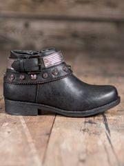 Módní kotníčkové boty dámské černé na plochém podpatku