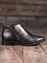 Luxusní kotníčkové boty šedo-stříbrné dámské na širokém podpatku
