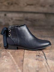 Luxusní kotníčkové boty dámské modré na plochém podpatku