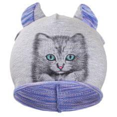 NEW BABY Podzimní dětská čepička New Baby kočička fialová - 110 (4-5r)