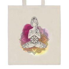 NEW BABY Bavlněná nákupní taška přírodní s potiskem New Baby Mandala