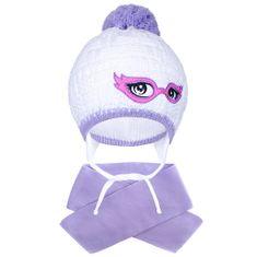 NEW BABY Zimní dětská pletená čepička se šálou New Baby fialová - 104 (3-4r)