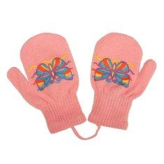 NEW BABY Dětské zimní rukavičky New Baby s motýlkem růžové - 98 (2-3r)