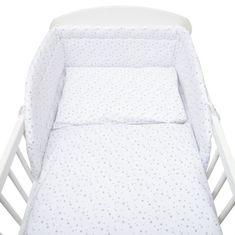 NEW BABY 3-dílné ložní povlečení New Baby 100/135 cm bílé šedé hvězdičky