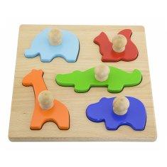 Viga Dřevěné vkládací puzzle razítka Viga Zvířata