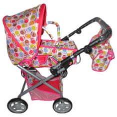 Baby Mix Dětský kočárek pro panenky 2v1 Baby Mix se sovičkami