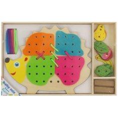 Baby Mix Dřevěná provlékací hračka Baby Mix Ježek