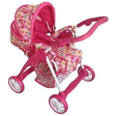 Baby Mix Dětský kočárek pro panenky 2v1 Baby Mix růžový - motýlci