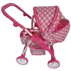 Baby Mix Dětský kočárek pro panenky 2v1 Baby Mix růžový - srdíčka