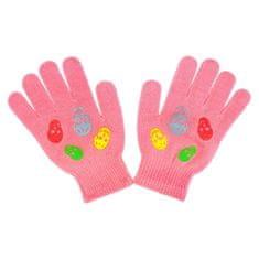 NEW BABY Dětské zimní rukavičky New Baby Girl malinové - 122 (6-7 let)