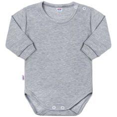 NEW BABY Kojenecké body s dlouhým rukávem New Baby Pastel šedý melír - Kojenecké body s dlouhým rukávem New Baby Pastel šedý melír