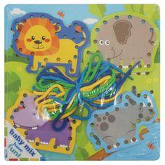 Baby Mix Dřevěná provlékací hračka Baby Mix Safari