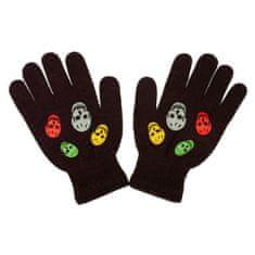 NEW BABY Dětské zimní rukavičky New Baby Girl hnědé - 122 (6-7 let)