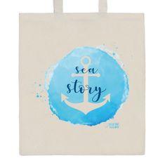 NEW BABY Bavlněná nákupní taška přírodní s potiskem New Baby Sea story