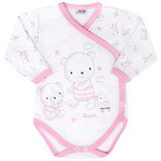 NEW BABY Kojenecké body s bočním zapínáním New Baby Bears růžové - 50 (0 m)