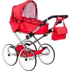 NEW BABY Dětský Retro kočárek pro panenky 2v1 New Baby Elen červený se srdíčky