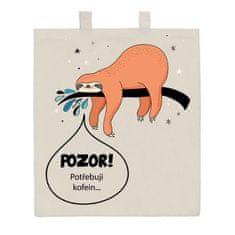 NEW BABY Bavlněná nákupní taška přírodní s potiskem New Baby POZOR! Potřebuji kofein...