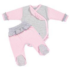 NEW BABY 2-dílná kojenecká souprava New Baby Puntík II šedo-růžová - 2-dílná kojenecká souprava New Baby Puntík II šedo-růžová