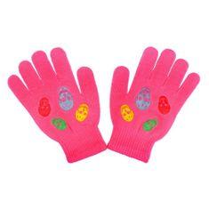 NEW BABY Dětské zimní rukavičky New Baby Girl tmavě růžové - 122 (6-7 let)
