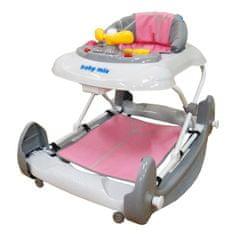 Baby Mix Dětské chodítko s houpačkou a silikonovými kolečky Baby Mix pink