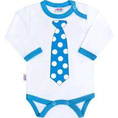 NEW BABY Body s potiskem New Baby s tyrkysovou kravatou - 56 (0-3m)
