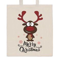 NEW BABY Bavlněná nákupní taška přírodní s potiskem New Baby Merry Christmas
