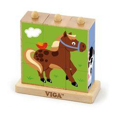 Viga Dřevěné puzzle kostky na stojánku Viga Farma