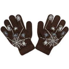 NEW BABY Dětské zimní rukavičky New Baby s pavoukem hnědé - 104 (3-4r)