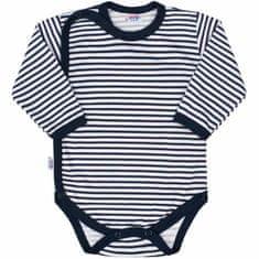 NEW BABY Kojenecké celorozepínací body New Baby Classic II s modrými pruhy - 50 (0 m)